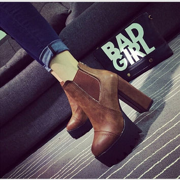 Sexy Ultra High Heels Shoes Women Boots Female Round Toe Martin Boots 9cm Thick Heel Platform Women Shoes Ankle Boots = 1946610628