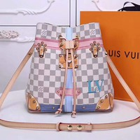 LV Fashion Women Leather Tote Crossbody Satchel Shoulder Bag Handbag Bucket Bag White Tartan I-OM-NBPF