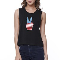 Peace American Flag Womens Crop Tee Unique Peace Sign Tee For Her