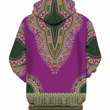 Purple African Dashiki Print 3D Hoodies Men