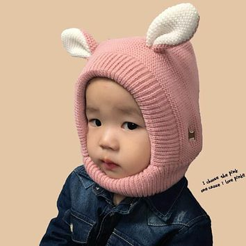 Baby Hat Cartoon Style Ear Crochet Knitted Cap