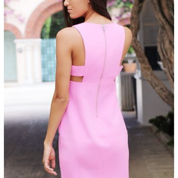 Bubblegum pink dress with cutout detail | Reese | escloset.com