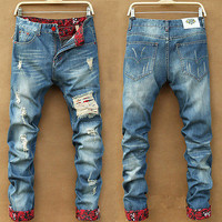 Hot Men Stylish Ripped Jeans Pants Biker Classic Skinny Slim Straight Denim Trousers