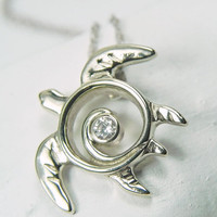 Sea Turtle Necklace 14kt White Gold Turtle by FantaSeaJewelry