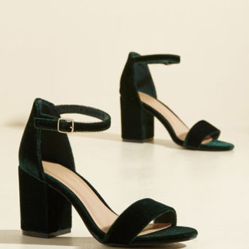 Have the Upper Grande Velvet Heel in Forest | Mod Retro Vintage Heels | ModCloth.com