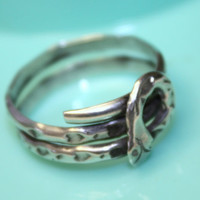 Vintage Sterling  Ring Taxco Mexico Snake Serpant by patwatty