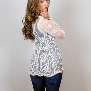 Take Me Out Lace Top - Cream