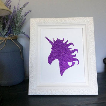Unicorn Print on White Canvas Panel, Whimsical Nursery Wall Art, Tabletop decor, Unicorn Wall Art, Glitter Unicorn Wall Art, Purple Decor