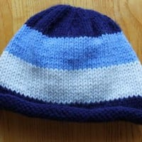 Blue Striped Beanie Hat for Babies 3-6 months