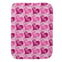 Pink hearts Valentines Day Burp Cloths