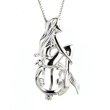 925 Sterling Silver Mermaid Fairy Tale Pearl Cage Pendant