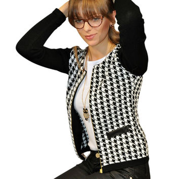 New Women Autumn Spring Long Sleeve Jacket Round Neck Short Coat Houndstooth Outwear