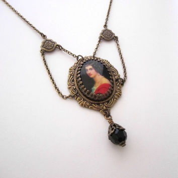 Victorian Necklace - Georgian Lady Portrait Pendant - Vintage Cameo - Antiqued Brass
