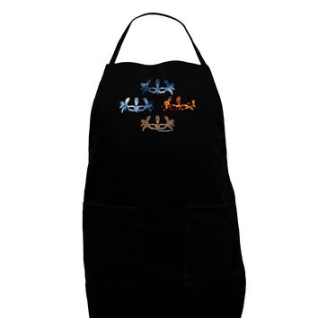 Four Elemental Masquerade Masks Dark Adult Apron by TooLoud