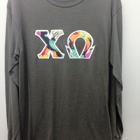 Chi Omega Sorority Long Sleeve T Shirt with Greek Letters - Ready to Ship!!