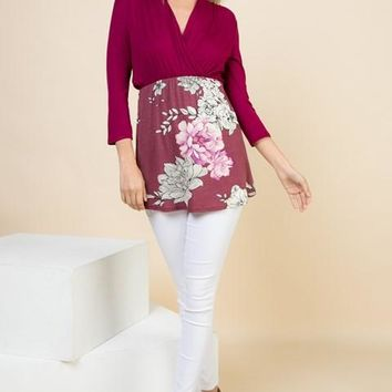 Plus Solid 3/4 Sleeve Tunic with Floral Contrast