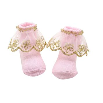New 2 Pairs Newborns Baby Kids Infant Socks Holiday Birthday Gifts for Baby Girls Mesh Ruffle Socks 0-12M