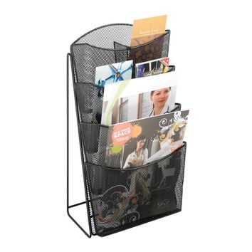 Safco Home Office Products Onyx Mesh 4 Pocket Magazine Rack Black