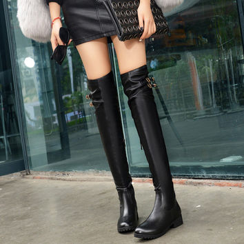 PU Round Toe Side Zipper Metal Buckle Over Knee Boots