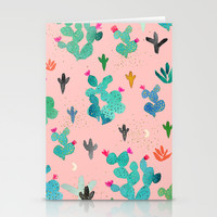 Cactus Desert Pink Dusk Moon Stationery Cards by Crystal ★ Walen