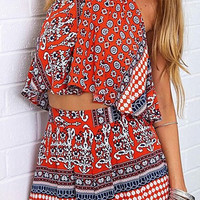 Tribal Print Red Co-ord Set