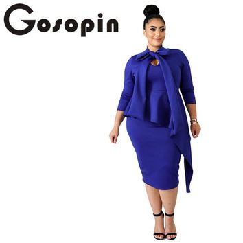 Gosopin Plus Size Long Sleeve Autumn Dress Women 3xl Elegant Ladies Office Dress Bow Tie Bodycon Midi Sexy Party Dress LC610372