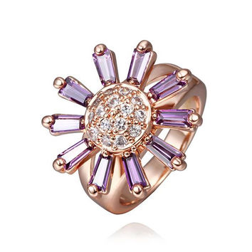 Rose Gold Plated Lavender Citrine Floral Ring