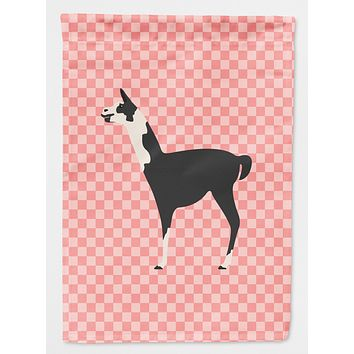 Llama Q' Ara Pink Check Flag Canvas House Size BB7918CHF