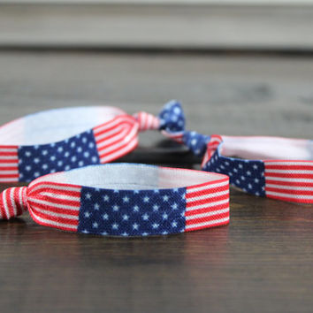 July 4th Hair Tie, American Flag Headband, Patriotic Hair Accessories, Fold Over Elastic, Red, White and Blue, Flag Print
