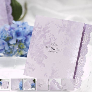 50pcs/set free envelop and free seal Delicate purple Lace Cut-out Z-fold Wedding Invitation card