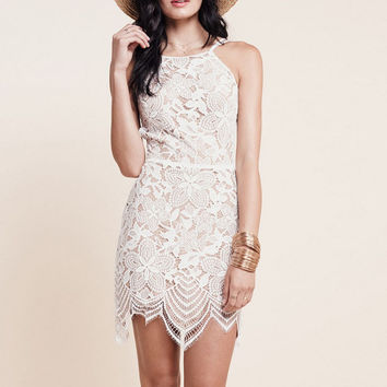 White Floral Lace Strappy Backless Mini Dress