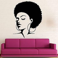 Wall Stickers Vinyl Decal Black Lady Sexy Hot Girl Hair Beauty Unique Gift (ig1633)