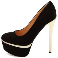 Sueded Metallic-Trim Platform Pump
