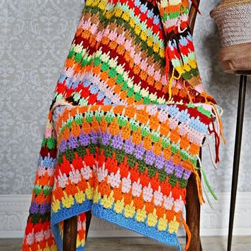 Vintage 1970s Colorful + Hand Crochet Afghan
