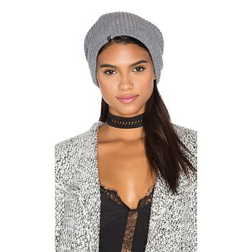 Plush Ribbed Knit Beanie Grey