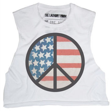 The Laundry Room Peace Flag Crop Muscle Tee