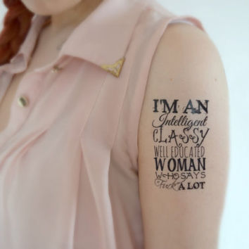 Feminist temporary tattoo - Body art, Ink, Quote, Scripture, Classy