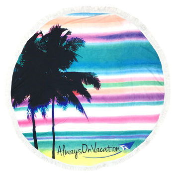 Palm Tree Pattern Round Beach Towel Mat Tassel