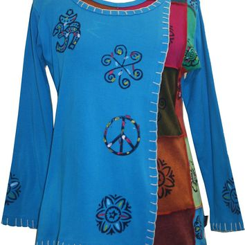 Knit Cotton Hand Brush Painted Bhoto Style Top Blouse
