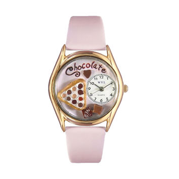 Whimsical Watches Healthcare Nurse Gift Accessories Chocolate Lover Pink Leather And Goldtone Watch