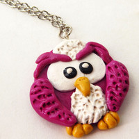 Polymer clay owl pendant necklace cute owl necklace owl jewelry owl charm necklace cute owl charm handmade woodland teen girl necklace