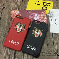 """Gucci"" Unisex Personality Leopard Head Letter iPhone6/6S Phone Hard Shell iPhone7 Plus Couple Apple Phone Case"