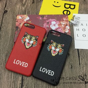 """""""Gucci"""" Unisex Personality Leopard Head Letter iPhone6/6S Phone Hard Shell iPhone7 Plus Couple Apple Phone Case"""