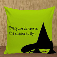 Wizard of OZ Wicked Witch Muscial typographic pillow case custom zippered pillow case one side and two sides