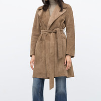 Suede studio trench coat
