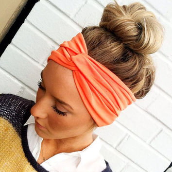 Coral Turban Headband Stretch Jersey Twist by ThreeBirdNest