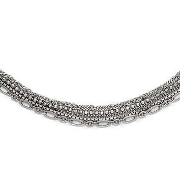 Five Strand Multi Style Chain Necklace in Sterling Silver, 15-17 Inch
