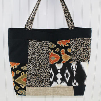 Animal Print Patchwork Tote Bag, Market Bag, Large Tote Bag, Fold Up Bag, Art Tote Bag, Everything Bag, MK145