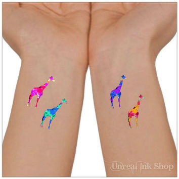 Temporary Tattoo 4 Giraffe Ankle Tattoos Wrist Tattoo