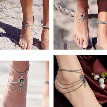 Boho Ethnic gem Beads Anklet Chic Tassel Foot Chain Ankle Bracelet Body Jewelry Anklets For Women